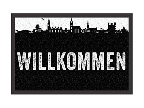 TÜRMATTE Fußmatte WILLKOMMEN Türvorleger HANNOVER Silhouette INTERLUXE Shabby Neu Schmutzmatte