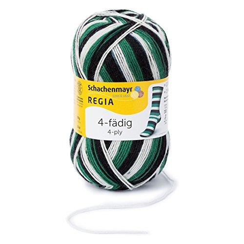 Regia 9801269-05390 Handstrickgarn, Wolle, schwarz/weiß/grün, 16 x 9 x 9 cm