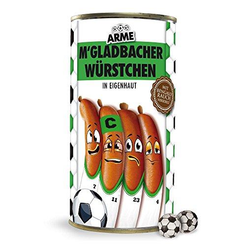 Arme Gladbacher Würstchen in Eigenhaut   alle Leverkusen-, Köln- und Fußballfans aufgepasst. Witziges Geschenk für Freunde, Kollegen, Geburtstage und Partys zum Verschenken und Wegputzen - Würstchen, Würste, Knackwurst, Scherzartikel