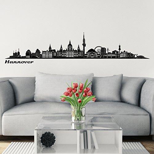 Wandkings Skyline Wandaufkleber Wandtattoo - 125 x 30 cm in schwarz - Deine Stadt wählbar - Hannover