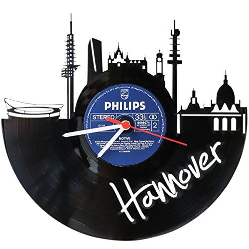 Wanduhr aus Vinyl Schallplattenuhr Skyline Hannover Upcycling Design Uhr Wand-Deko Vintage-Uhr Wand-Dekoration Retro-Uhr Made in Germany