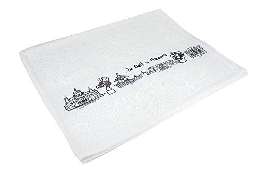 """Gästehandtuch """"Skyline Hannover"""" - als Geschenk für Hannoveraner & Fans der Niedersachsenmetropole oder als Hannover Souvenir - die stadtmeister"""