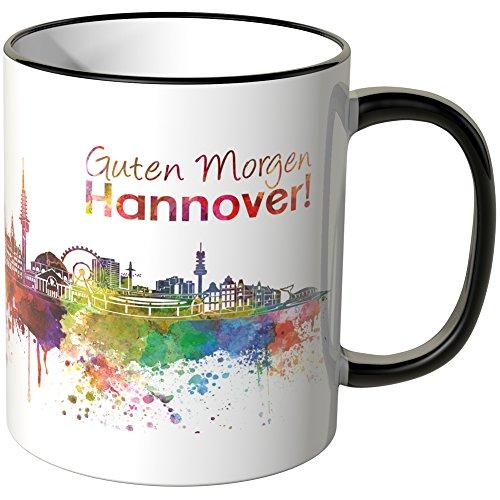 """Wandkings® Tasse, Schriftzug """"Guten Morgen Hannover!"""" mit Skyline - SCHWARZ"""