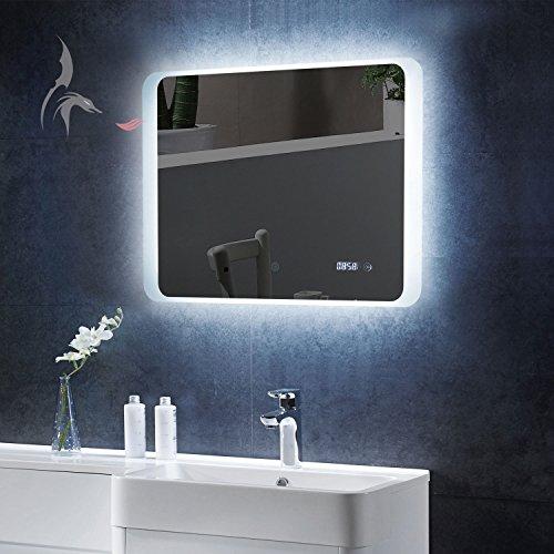 Badspiegel LED mit digital Uhr, Hannover 70x50cm, Badezimmerspiegel mit Uhr, Energieklasse A+