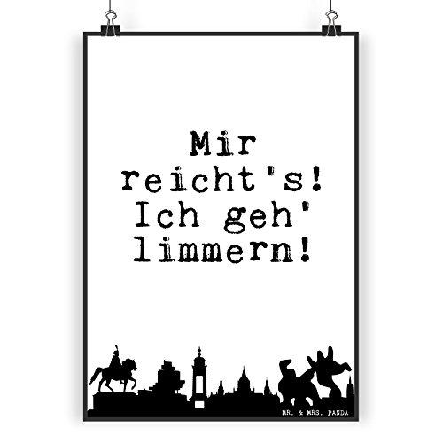 """Mr. & Mrs. Panda Poster DIN A5 Hannover Spruch """"Mir reicht's! Ich geh' limmern!"""" - 100% handmade aus Papier 160 Gramm - Poster, Wandposter, Bild, Wanddeko, Wand, Bild, Wandbild, Deko Hannover, Linden, Limmer, Leben, Region, Niedersachsen, limmern Spruch Sprüche Lustig Spass Geschenk Geschenkidee Zitate"""
